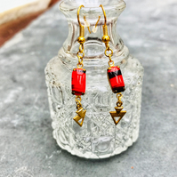 Cherry red and black vintage glass stone earrings with brass triangle dangles