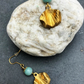 Golden leaf earrings with agate semi precious gemstone