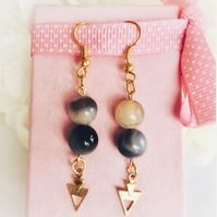 Agate precious stone earrings