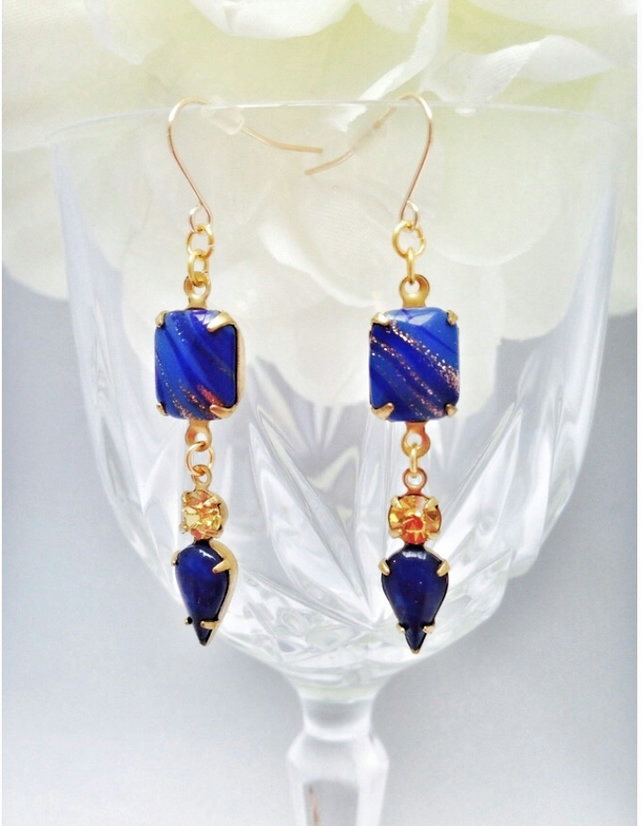 Lapiz lazuli & topaz blue and gold glass earrings with gold filled ear wires
