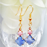 Lavender and rose pink square glass and round swarovski rhinestone earrings