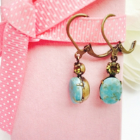 Vintage glass earrings, ocean blue and crystal.