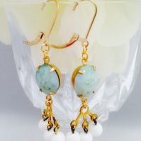 Vintage oval glass marbled earrings set in brass with gold filled earwires.