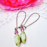 Green watermelon shape stone glass earrings with pink swarvoski stone