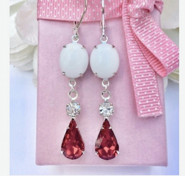 Red Rhinestone teardrop earrings with vintage white glass .