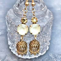 Swarvoski crystal and bird cage earrings.