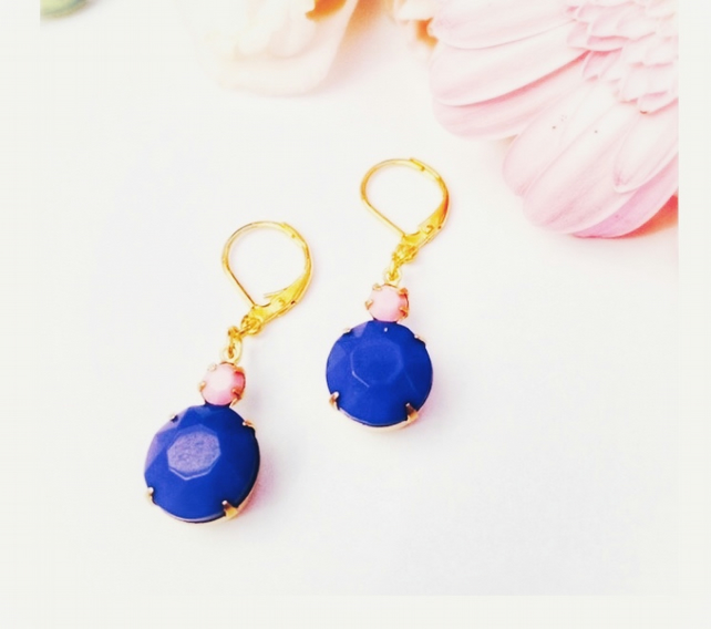 Opaque pink and navy blue glass earrings set in brass with leverback wires