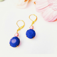 Opaque pink and navy blue glass earrings