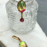 Multicolour oval glass stone rainbow earrings & swarvoski pink round stone