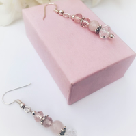 Crystal and pink glass and rose quartz earrings