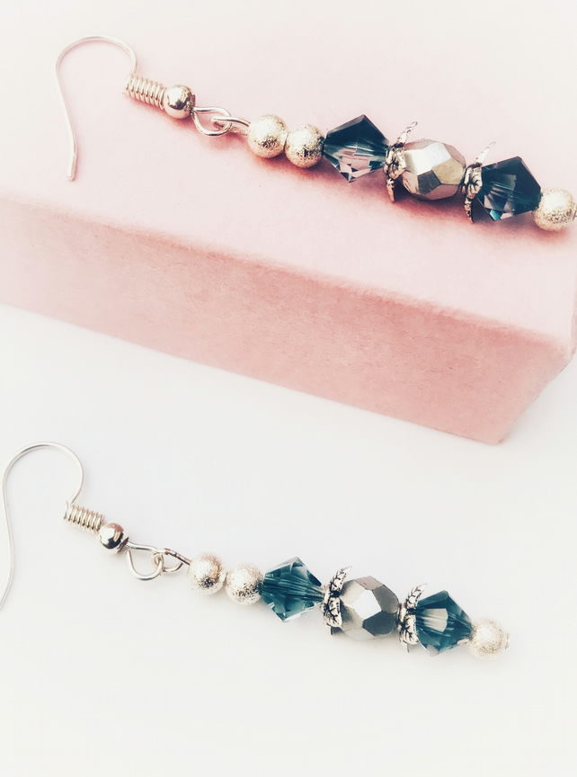 Swarovski and faceted round glass bead earrings