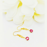 Round swarovski  pink stone earrings.