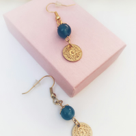 Bohemian vintage style Cornflower blue semi precious gemstone earrings