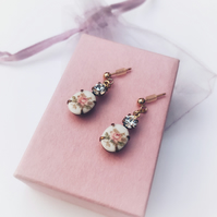 Vintage floral glass earrings with swarvoski crystal & gold filled ear posts.