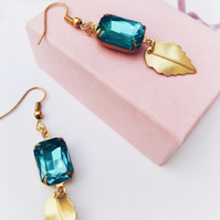 Vintage aqua glass earrings .