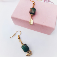Bohemian vintage style green and gold earrings.