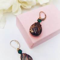 Brown shimmery smoke topaz glass earrings with gold filled ear wires, rhinestone