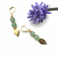 Jade semi precious stone earrings with golden leaves