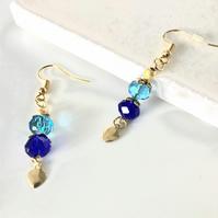 Royal blue and turquoise glass faceted bead earrings