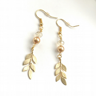 Gold leaf, glass bead and golden pearl dangle earrings