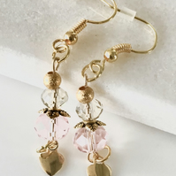 Pastel pink and crystal clear faceted glass  bead earrings