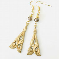 Stunning golden art deco style earrings