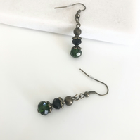FREE P&P Dangle earrings with emerald green and black faceted glass beads