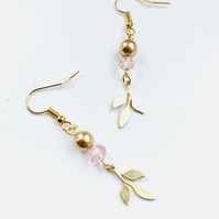 Gold leaf, glass bead and golden pearl dangly earrings