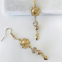Vintage style gold earrings with glass beads and hearts