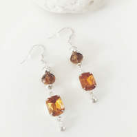 Amber glass and sterling silver bead earrings