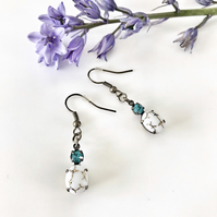 FREE P&P White vintage stone and blue zircon earrings