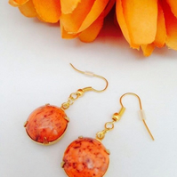 FREE P&P Vintage coral glass earrings
