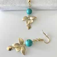 Gold flower and turquoise semi precious bead earrings