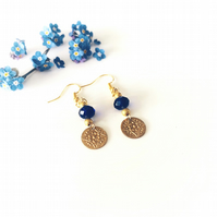 Vintage style dangle gold and blue earrings