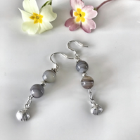 Agate dangle earrings with sterling silver shell
