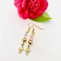 Sparkly pink and gold glass bead summer earrings, gift for her