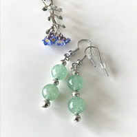 Jade semi precious stone earrings