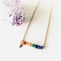 Rainbow necklace with heart