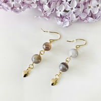 Botswana Agate brown and grey spiral dangle earrings