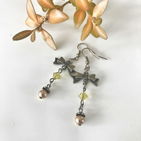 Glass bead and bow dangle earrings, gift for her.