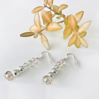 Faceted glass and sterling silver bead dangly earrings