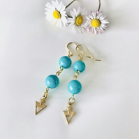 Turquoise semi precious earrings, gift for her