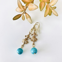 Turquoise semi precious earrings