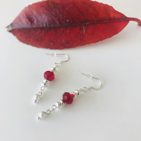 Red faceted glass & sterling silver dangle earrings