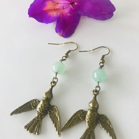 Bird dangle earrings with Jade beads