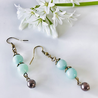 Semi precious brass dangle earrings