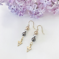 Gold, silver & metallic brown earrings