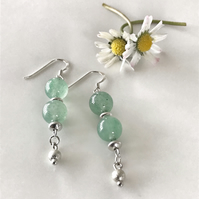 Jade semi precious & sterling silver earrings