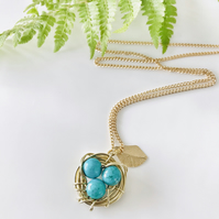 Handmade birds nest pendant necklace with turquoise beads