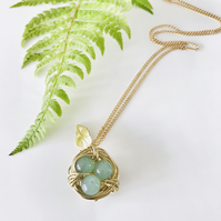 Handmade bird nest pendant necklace with Jade beads